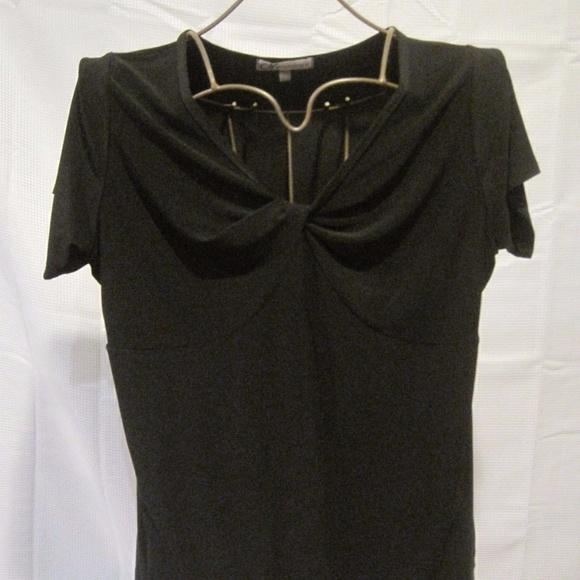 19b66632a34 DRESSBARN Black Short Sleeve V-Neck Blouse 1X